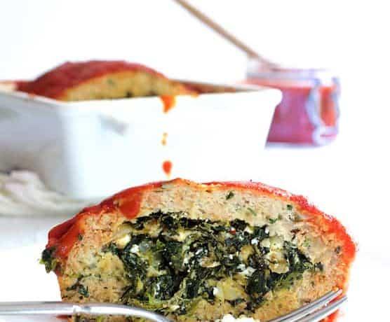 Spinach Feta Stuffed Turkey Meat Loaf