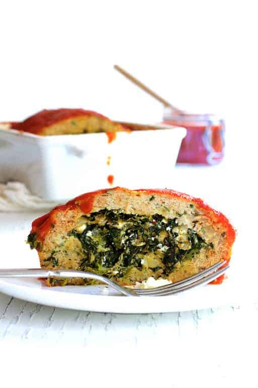 Spinach Feta Stuffed Turkey Meat Loaf