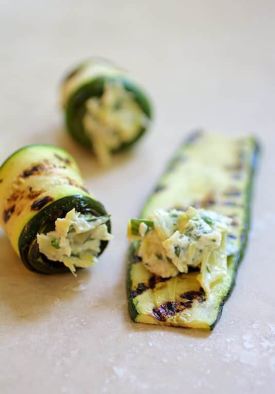 Cream Cheese and Artichoke Stuffed Grilled Zucchini and Tomatoes