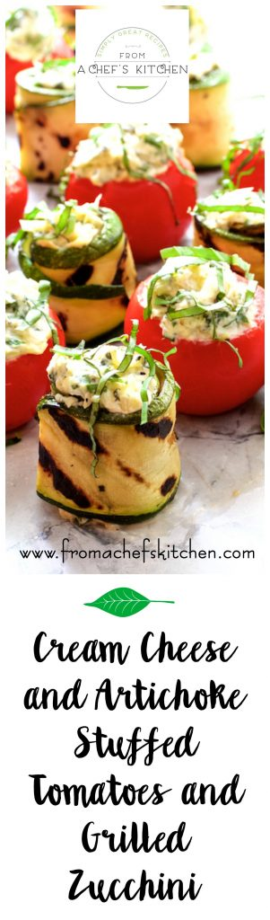 Cream Cheese and Artichoke Stuffed Tomatoes and Zucchini Rolls is an elegant, easy and impressive appetizer that's perfect for any summer occasion! #LetsCheese #Ad