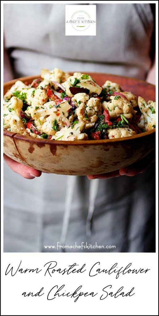 Pinterest image for Warm Roasted Cauliflower and Chickpea Salad