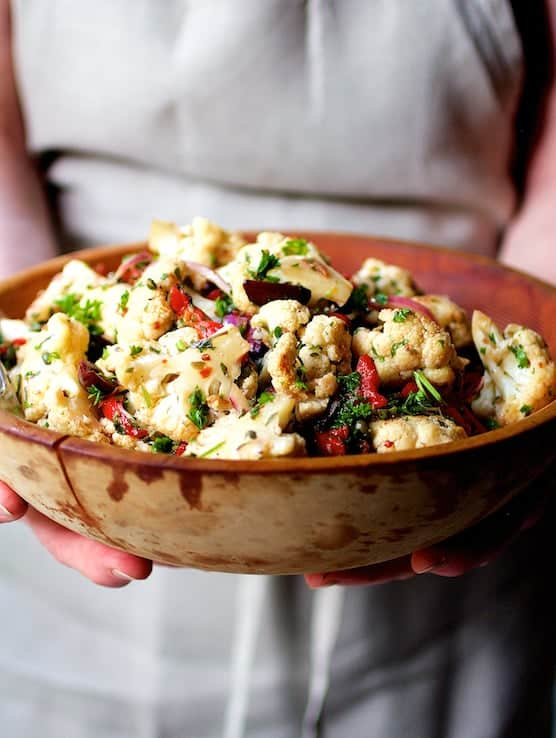 Warm Roasted Cauliflower and Chickpea Salad