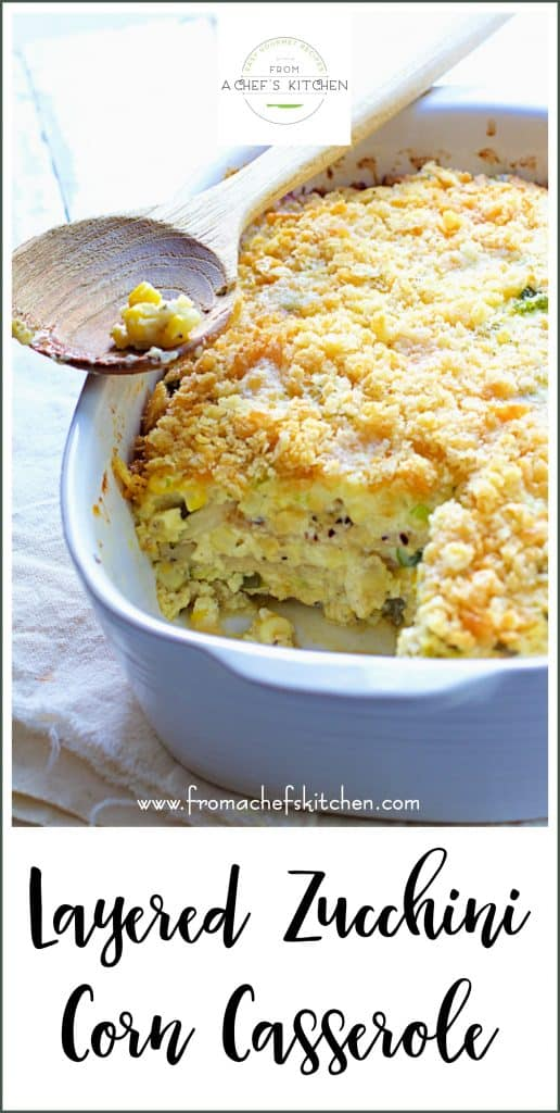 Pinterest image for Layered Zucchini Corn Casserole