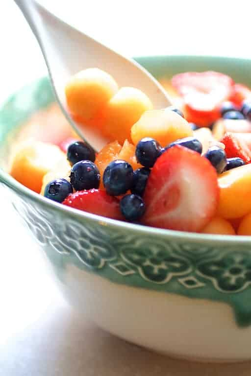 Summer Fruit Salad with Orange Yogurt Vanilla Dressing