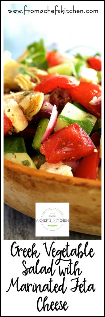 Greek Vegetable Salad with Marinated Feta Cheese is full of fresh, crunchy vegetables, a lively dressing and marinated feta cheese! Perfect for summer!