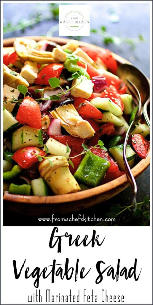 Pin for Greek Vegetable Salad with Feta Cheese