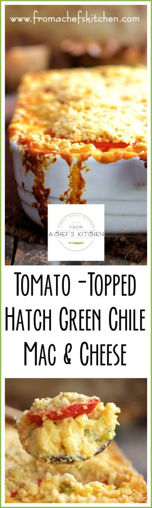 This mac and cheese is over the top! Tomato-Topped Hatch Green Chile Mac and Cheese!