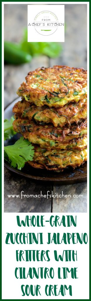 Whole Grain Zucchini Fritters with Cilantro Lime Sour Cream is the zucchini fritter reinvented! Whole grain, jalapeno and a zippy cilantro lime sour cream.