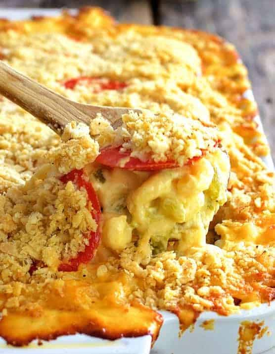 Tomato-Topped Hatch Green Chile Mac and Cheese
