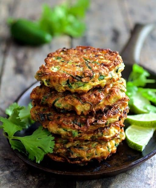 Whole Grain Zucchini Jalapeno Fritters with Cilantro Lime Sour Cream