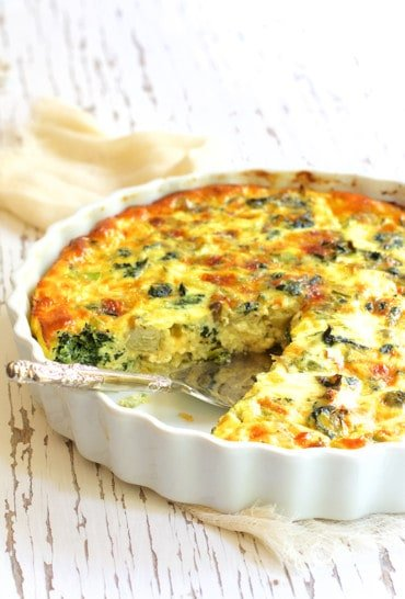Crustless Spinach Artichoke Jalapeno Quiche