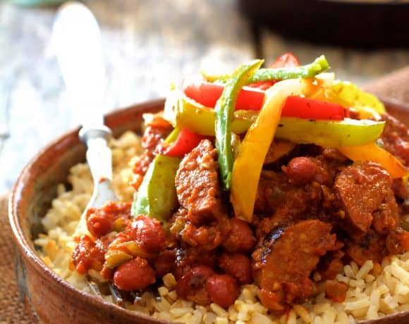 Red Beans and Rice with Chorizo and Bell Pepper Saute