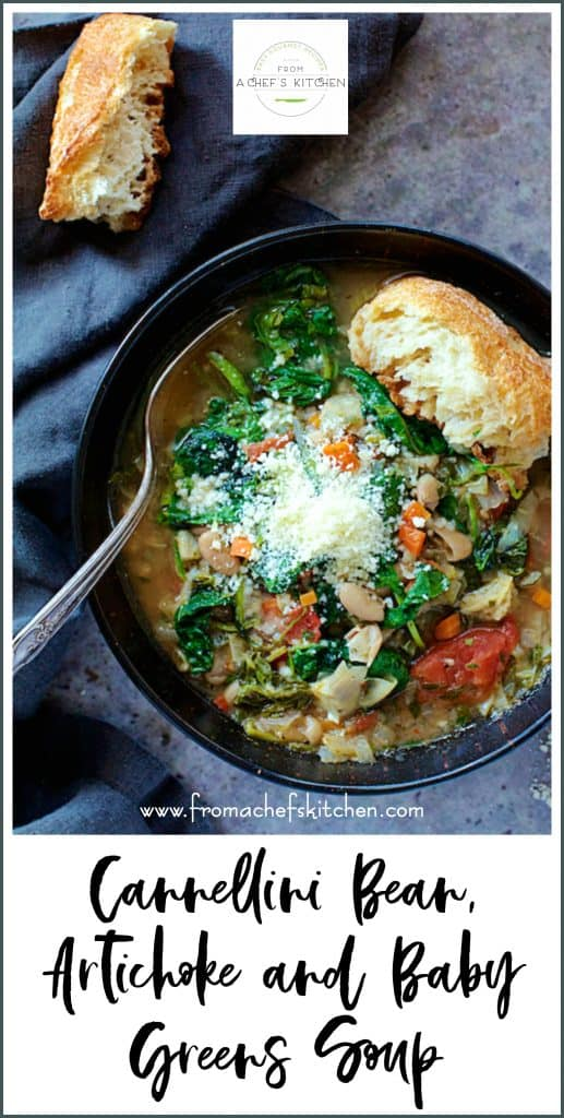 Pinterest Image for Cannellini Bean, Artichoke and Baby Greens Soup