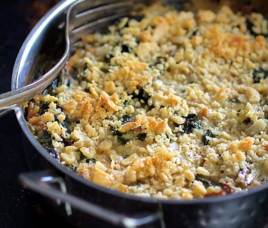 Kale Sprout, Spinach and Arugula Gratin with Cambozola Cheese