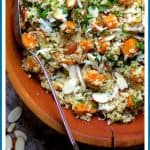 Lemony Quinoa with Butternut Squash, Almonds and Parmesan Cheese is perfect as a side dish or vegetarian entree! I also share the easiest quinoa cooking method EVER!