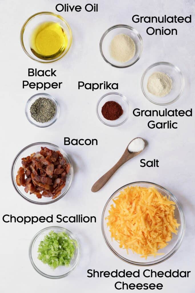 Overhead shot of ingredients for Baby Hasselback Potato Bake with Cheddar and Bacon