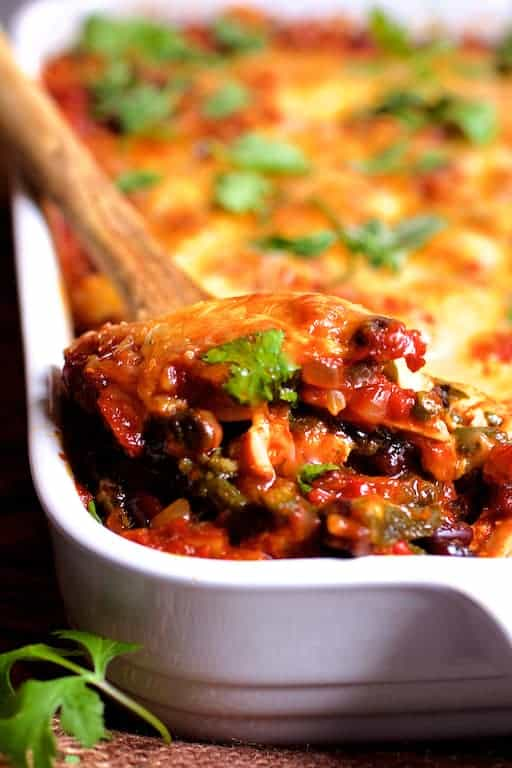 Chicken Poblano and Black Bean Tortilla Casserole