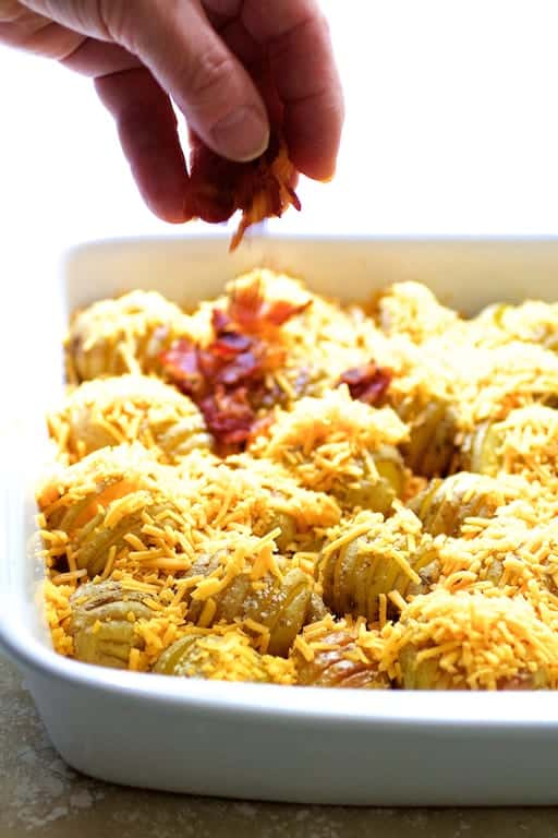 Baby Hasselback Potato Bake with Cheddar and Bacon
