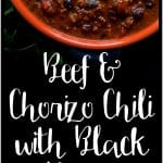 Beef and Chorizo Chili with Black Beans is scaled for a crowd and perfect for a party!