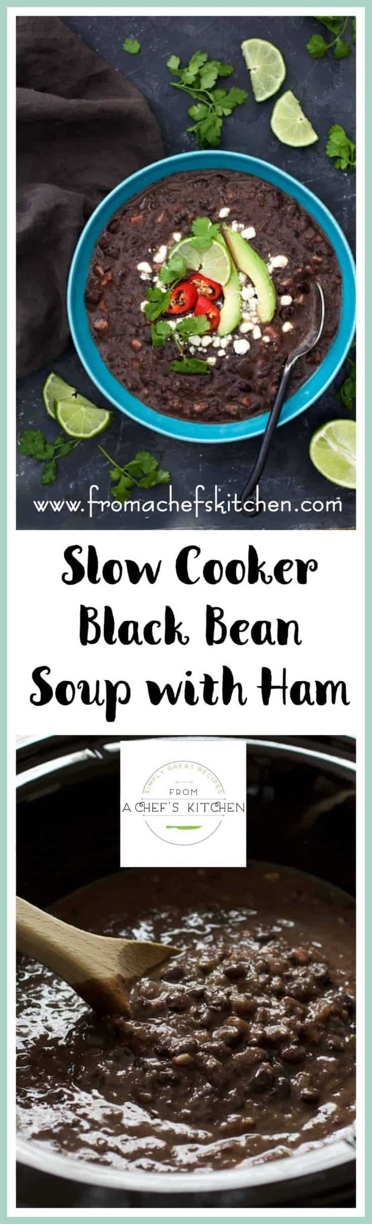 Slow Cooker Black Bean Soup with Ham is the perfect way to make black bean soup.  My tips are guaranteed to get you tender beans every time!  #blackbean #blackbeansoup #slowcooker #soup