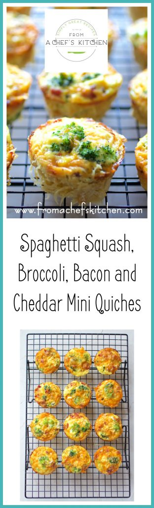Spaghetti Squash, Broccoli, Bacon and Cheddar Mini Quiches