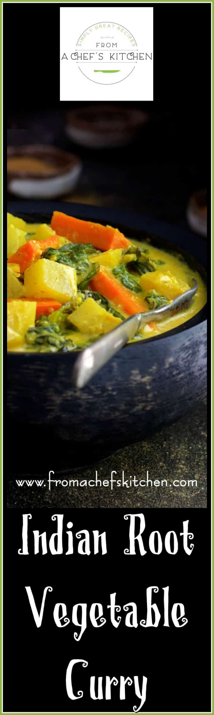 Indian Root Vegetable Curry is hearty and humble but over-the-top with flavor!  It's the perfect down-to-earth dinner anytime. #indianfood #curry #rootvegetable #vegetarian #vegan