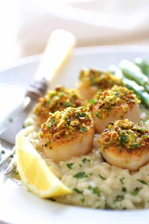 Pistachio Encrusted Scallops with Champagne Risotto and Roasted Asparagus