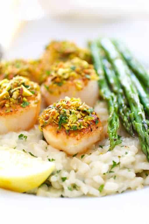 Pistachio Encrusted Sea Scallops with Champagne Risotto and Roasted Asparagus