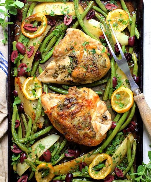 Sheet Pan Roast Chicken with Potatoes, Green Beans, Olives and Lemon
