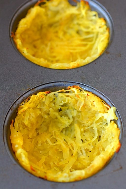 Spaghetti Squash Broccoli Bacon and Cheddar Mini Quiches