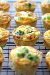 Spaghetti Squash Broccoli Bacon and Cheddar Mini Quiche
