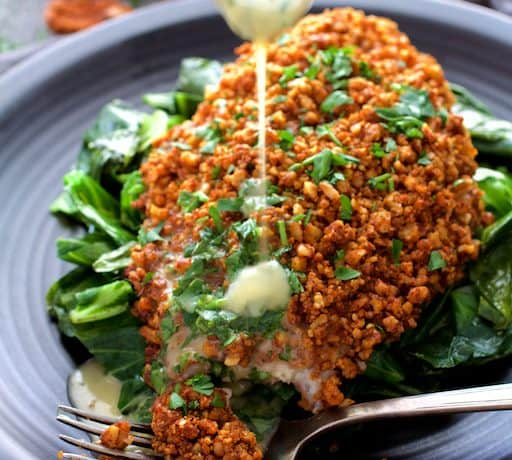 Baked Catfish Pecan Meuniere with Spicy Sauteed Greens