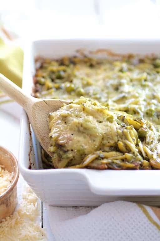 Baked Orzo with Pesto Peas Prosciutto and Mascarpone
