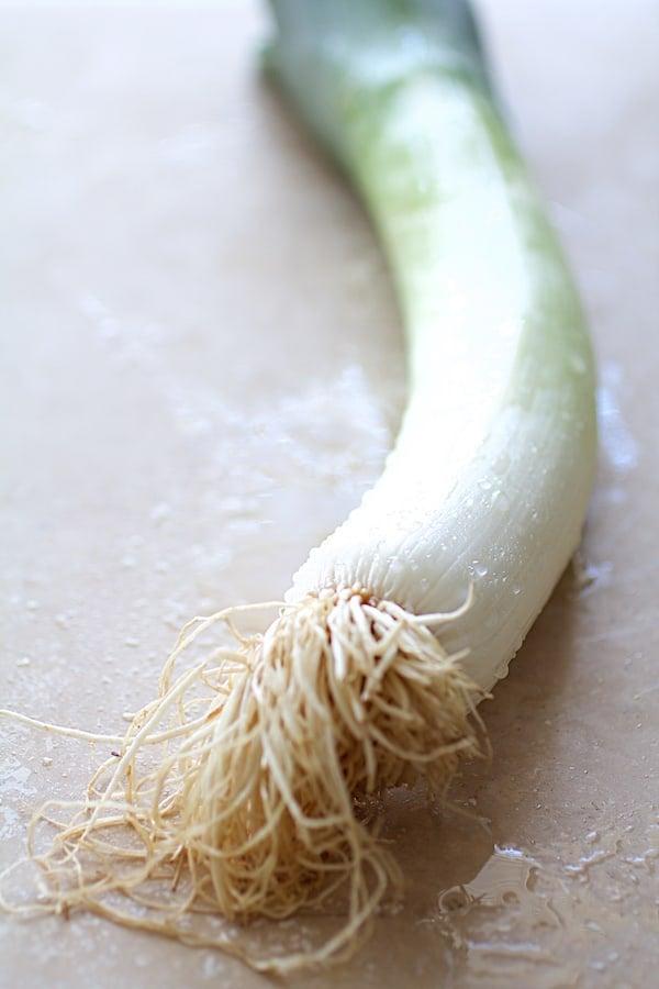 Close-up shot of freshly washed leek