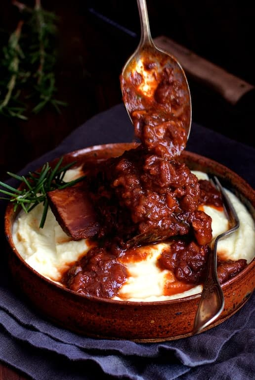 Cabernet Braised Beef Short Ribs with Cauliflower Leek Puree
