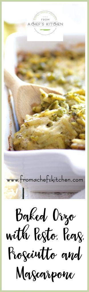 Baked Orzo with Pesto, Peas, Prosciutto and Mascarpone is perfect as a side dish or main dish!