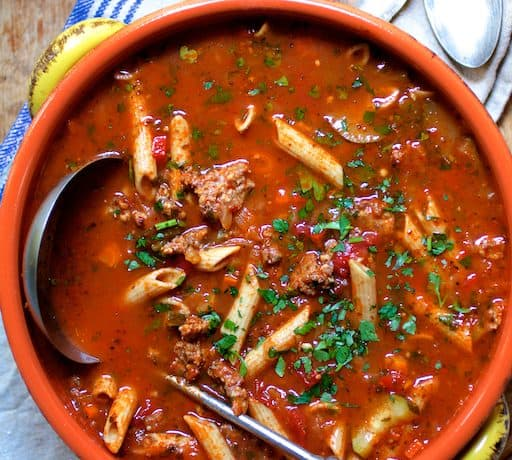 Spicy Italian Sausage Whole Grain Penne and Vegetable Soup