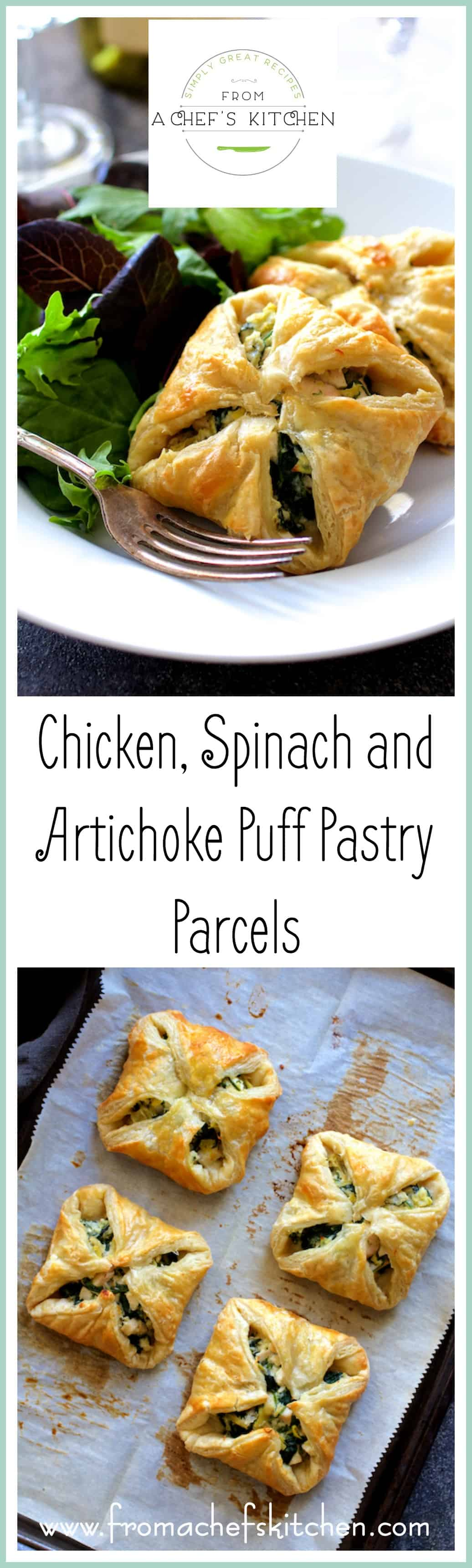 Chicken, Spinach and Artichoke Puff Pastry Parcels are super elegant and perfect for your spring special occasion!  @PuffPastry  #InspiredbyPuff