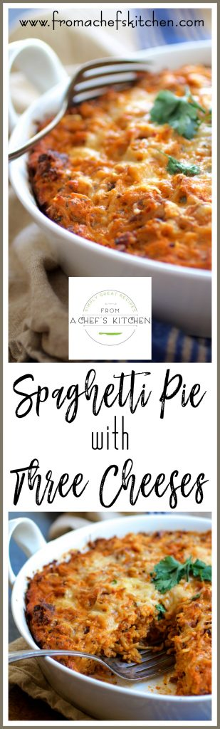 Spaghetti Pie with Three Cheeses--smoked mozzarella, ricotta and Parmesan--is how to turn leftover spaghetti into something amazing!