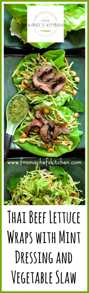Thai Beef Lettuce Wraps with Mint Dressing and Vegetable Slaw is full of fresh, crunchy vegetables and lively herbs! It's the perfect meal to make when the mint hits the fan!