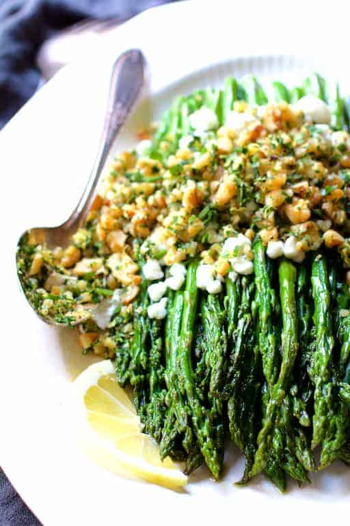 Roasted Asparagus with Goat Cheese and Walnut Lemon Gremolata