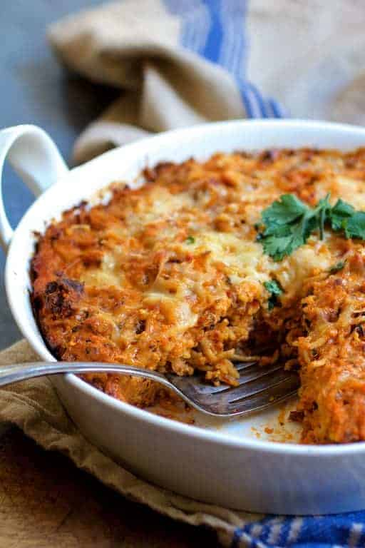 Spaghetti Pie with Three Cheeses - Wedge cut from dish to show inside