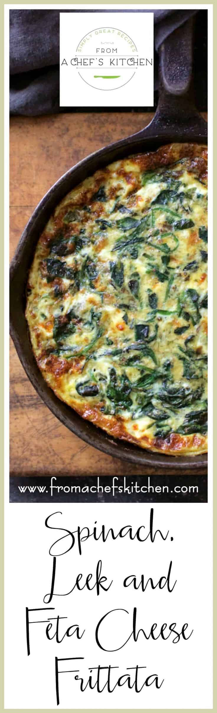 Spinach, Leek and Feta Cheese Frittata is everything! It's a Greek-inspired version of Italy's answer to the French omelet!  How's that for a super-fun dish!  #spinach #fetacheese #frittata #egg