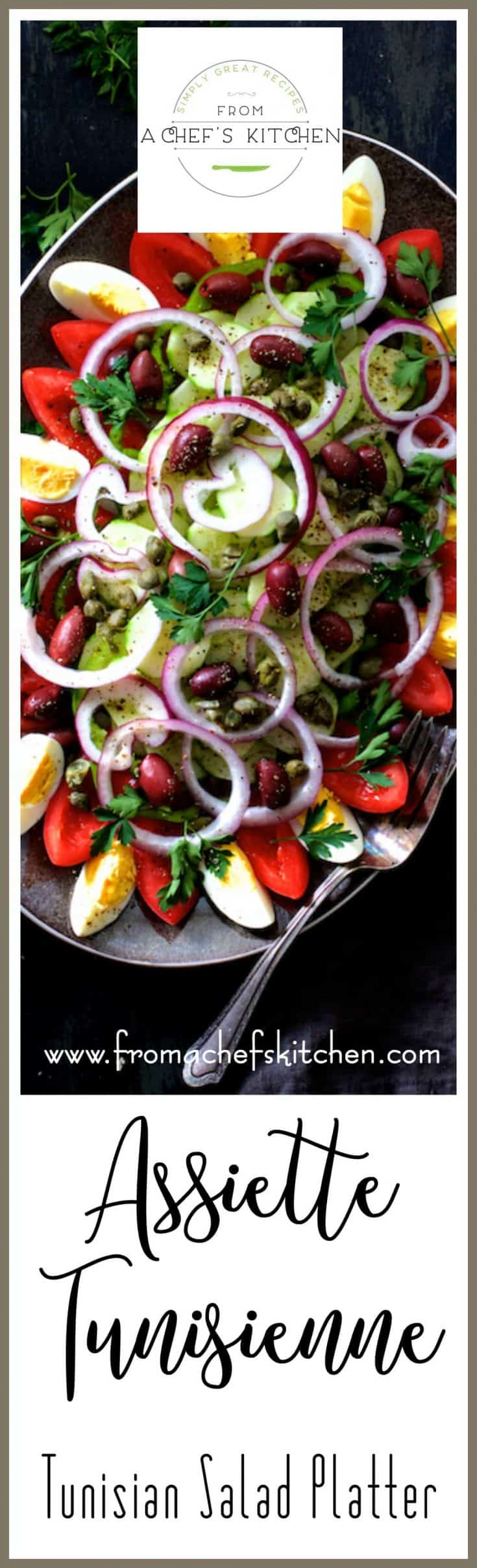 Tunisian Salad Platter (or Assiette Tunisienne) makes an impressive presentation for a buffet! Full of fresh, crunchy vegetables, olives, capers and drizzled with a simple red wine vinaigrette, this is THE salad to make all summer long!  #salad #tunisian #mediterraneanfood #mediterraneansalad