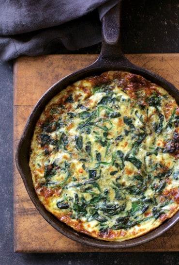 Spinach Leek and Feta Cheese Frittata