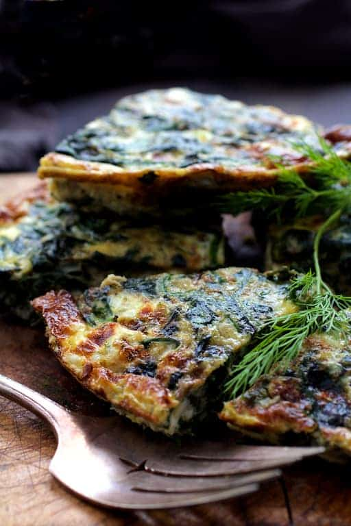 Spinach Leek and Feta Cheese Frittata