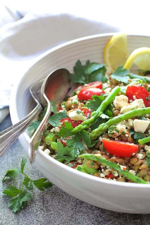 Lemony Lentil Asparagus and Tomato Salad with Feta Cheese