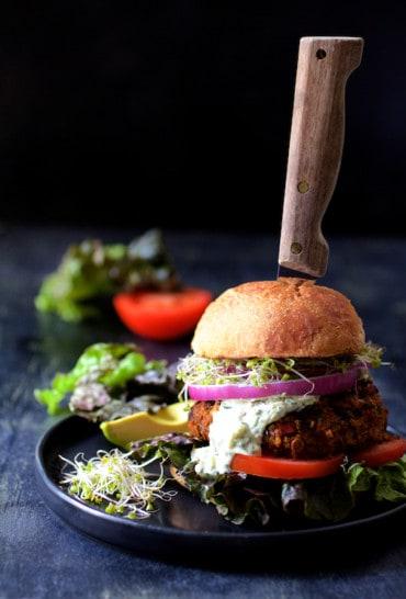 Lentil Walnut Veggie Burgers with Avocado Tzatziki