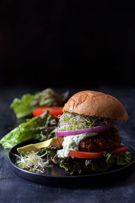 Lentil Walnut Veggie Burgers with Avocado Tzatziki