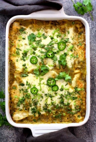 Lima Bean and Potato Enchiladas with Hatch Green Chile Sauce